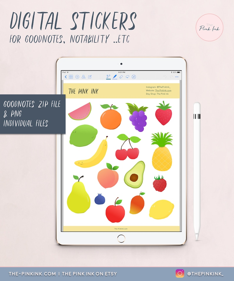 00b6c8dd208eb Fruits & veg Digital Stickers | Stickers Pack | PNG Individual files |  GoodNotes zip file Sheet | Image Pack Transparent | Instant Download