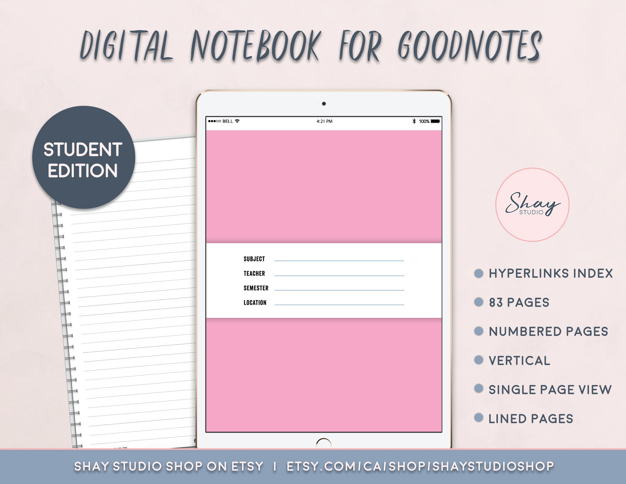 7 Digital Notebook Template, Digital Notebook, Subject Cover, Goodnote  template, Planner College Notebook, Vertical, Instant Download