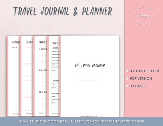 travel planner and journal printable travel organization etsy