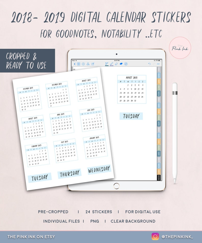 Digital Calendar Stickers For Goodnotes Calendar Stickers Etsy