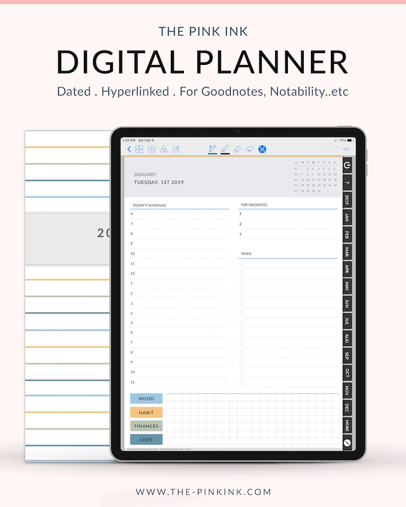 photograph relating to Digital Day Planner named 2019 Dated Electronic Day-to-day planner, Weekly Planner, Every month planner for Goodnotes, back links tabs planner, Digi Bujo, Prompt Down load