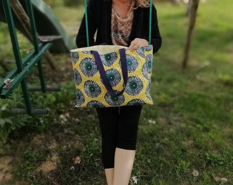 Canvas, sewn by hand, Tote, boho chic tote bag, gift for her, for the summer