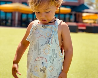 Desert knot front overalls kids shortalls boys shortalls toddler shortalls baby shortalls