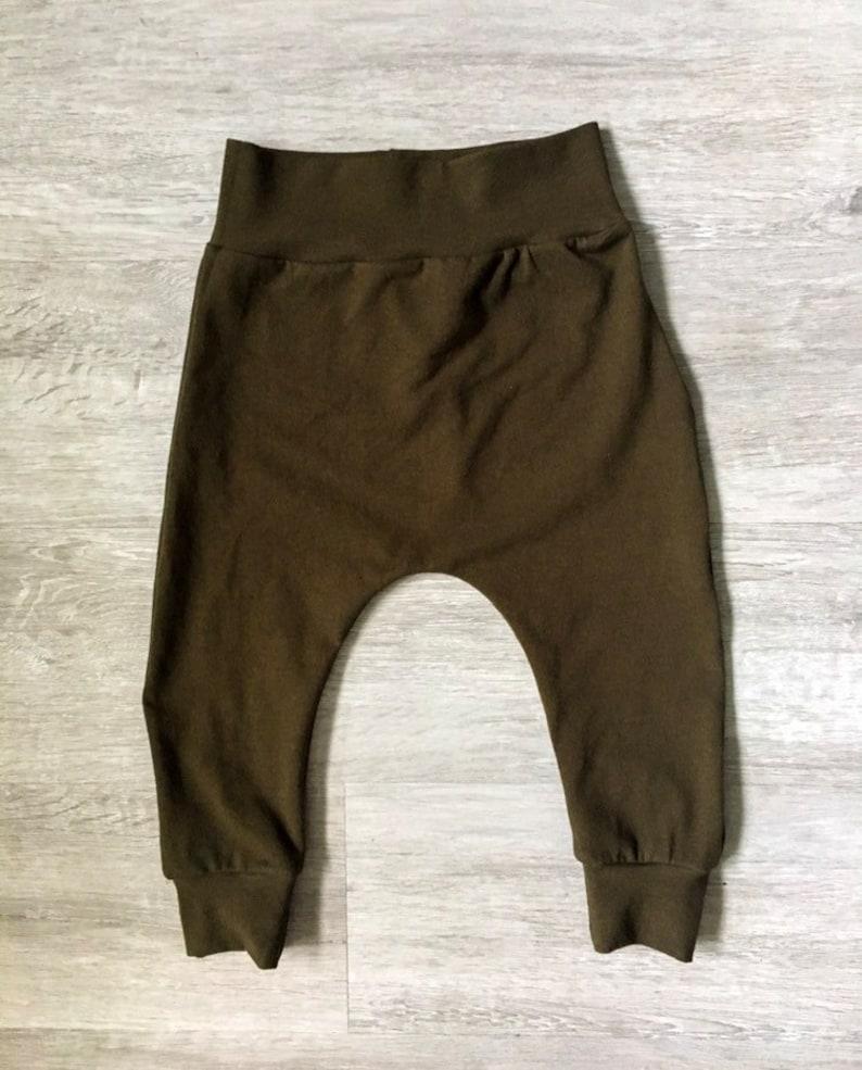 Baby/'s Harem leggings drop crotch leggings olive green leggings