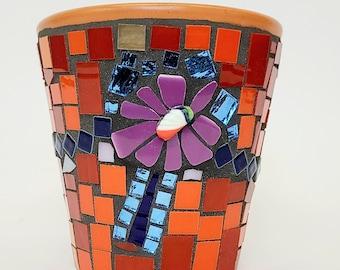 Mosaic Flower Pot Green and Orange
