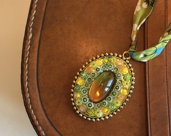 Mosaic pendant with original Italian Millefiori and semi-precious stone
