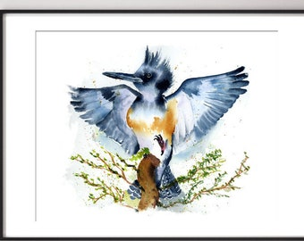 Kingfisher bird Print art decor Watercolor painting Nature lover Watercolour art wild bird artwork  gift flying Kingfisher