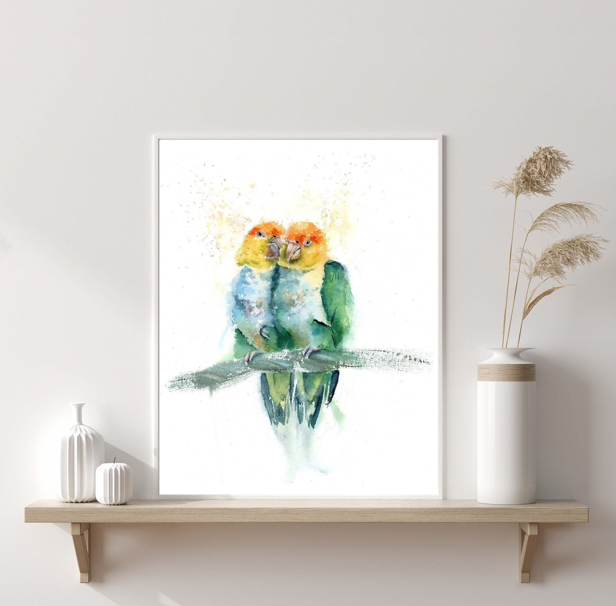 Parrot Pair Love Birds Print,Valentine/'s Day Gift Birds In Tree Original Watercolor Birds Art Watercolour Parrot