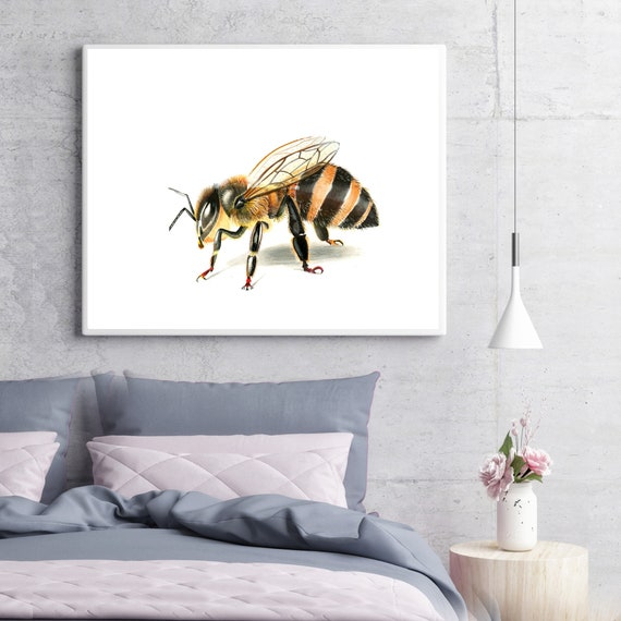 Honey Bee Art Impression Réaliste Dessin Mur Naturel Art Décor Petit Vol Graphique Animal Abeille Oeuvre Insecte Affiche