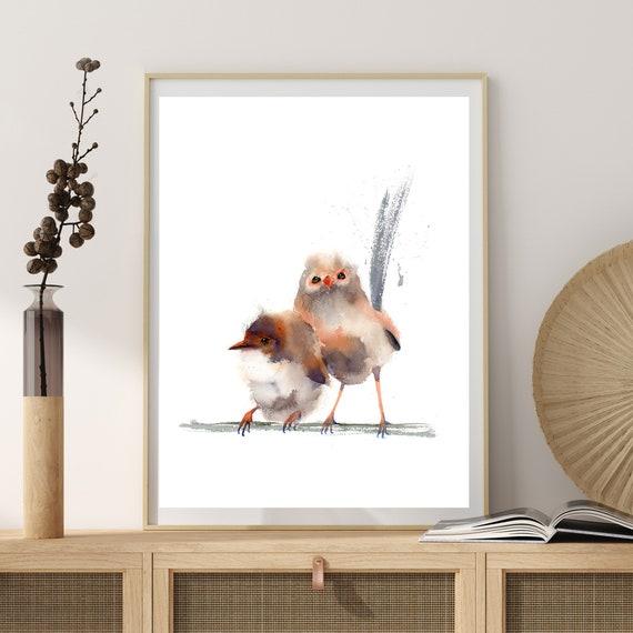 Wren watercolor painting bird print \u2013 0224