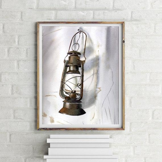 Lantern Painting Watercolor Print Kerosene Lamp Realistic Art Wall Decor Urban Light And Shadow Contrast Artwork Sketch Vintage Old Lamp