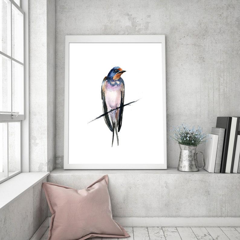 Ornithology wall art decor Swallow fine art print Nature artwork Wild Bird poster Watercolor bird painting