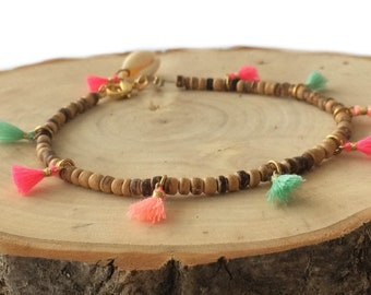Colorful  anklet with 2mm cocos beads and little tassels