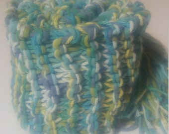 Hand Knit Cotton Scarf in Blue, Green and Yellow