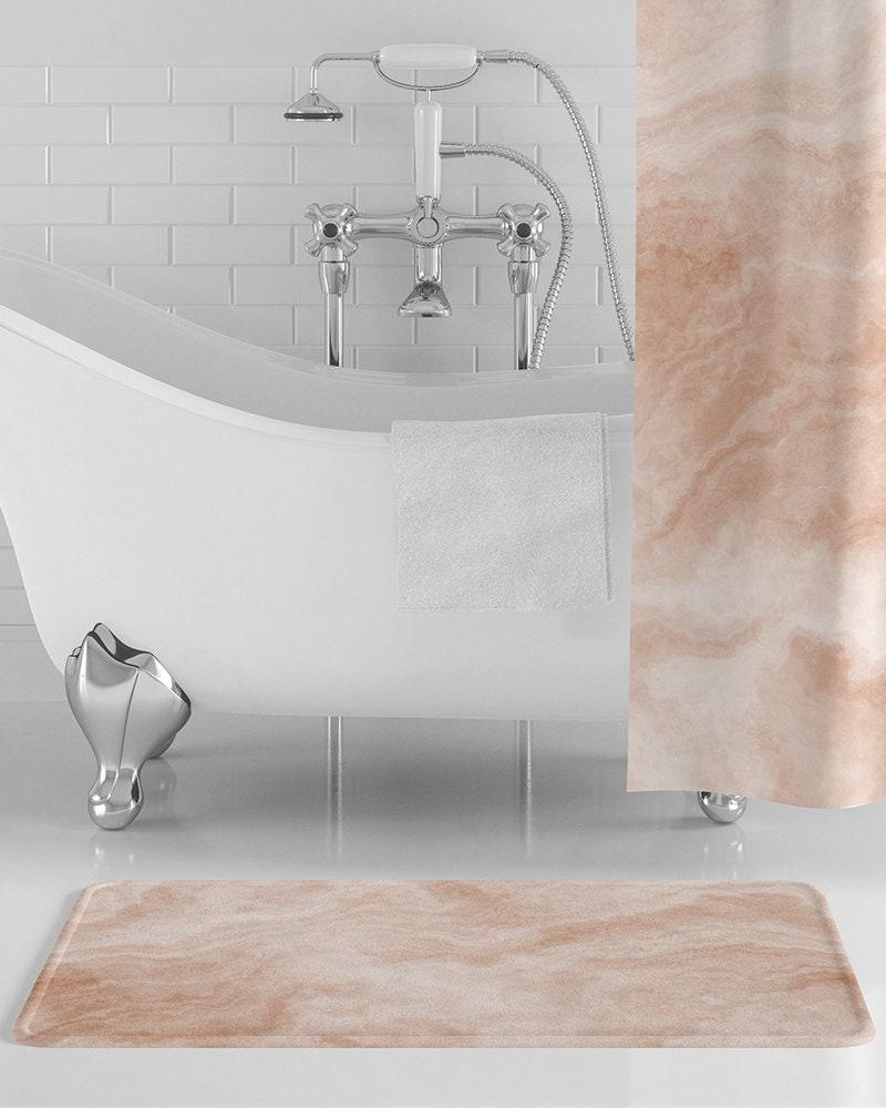 Peach Marble Bath Mat Light Orange, Peach Bathroom Accessories