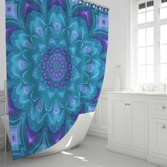 Mandala Style Pattern Waterproof Fabric Shower Curtain Liner Bath Accessory Sets