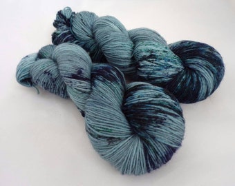 100g In the Deep, Aran Weight, hand dyed shawl sock yarn, worsted weight, aran, merino, nylon
