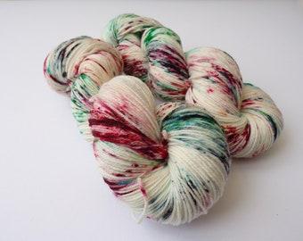 100g Tastes like Candy Canes, DK Weight, hand dyed shawl sock yarn, dk weight, merino, nylon