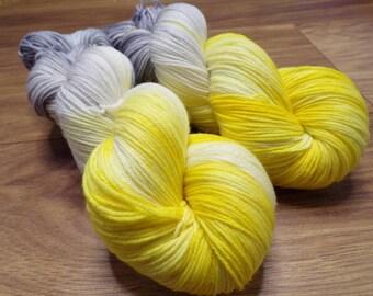 100g Mellow yellow, DK Weight, hand dyed dk weight, sock yarn, merino/nylon