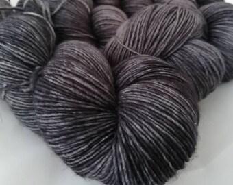 100g Anthracite, hand dyed shawl sock yarn, dk weight, merino, nylon