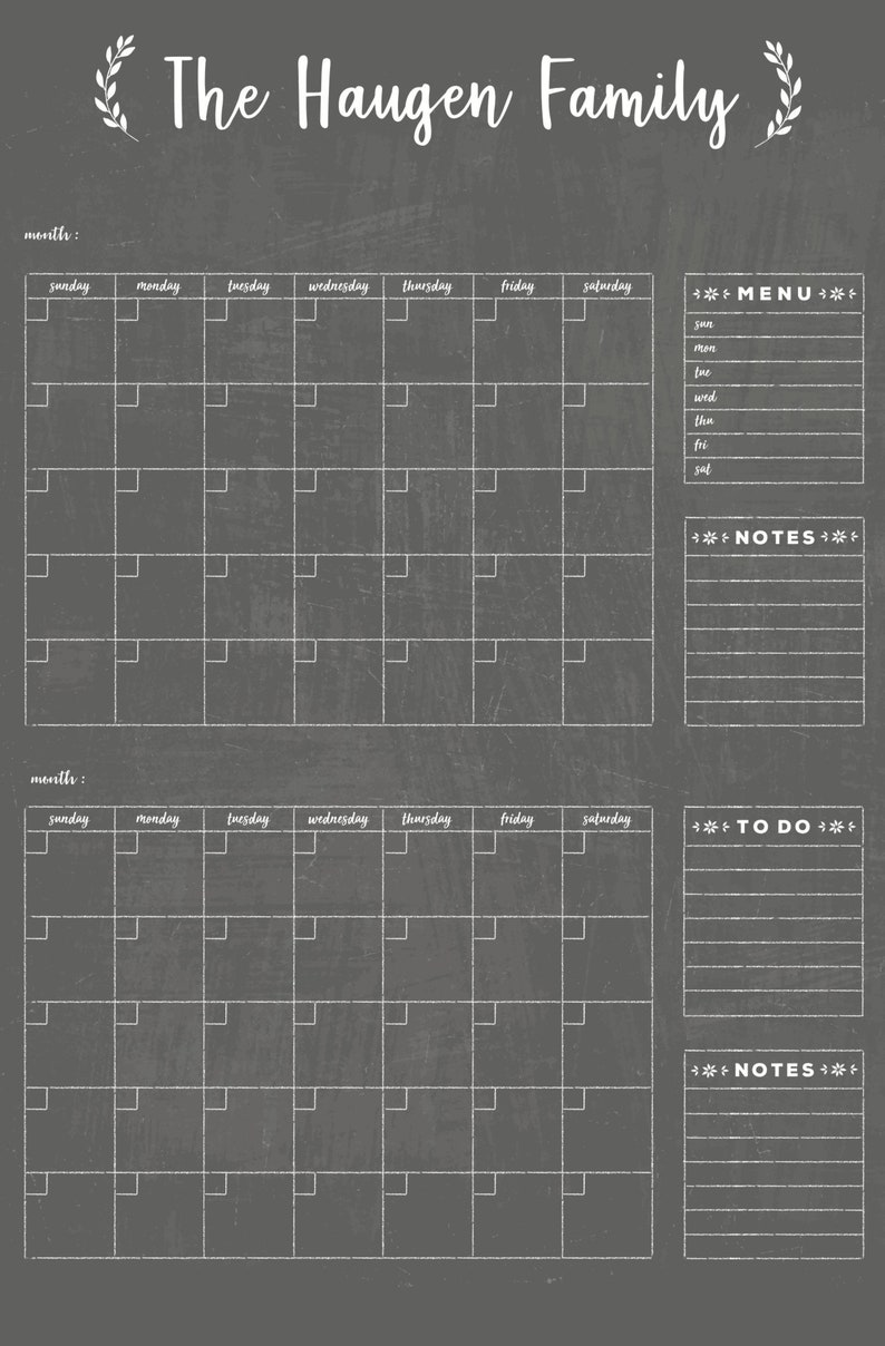 image about Printable 2 Month Calendar identified as Chalkboard Calendar 2 thirty day period PRINTABLE!