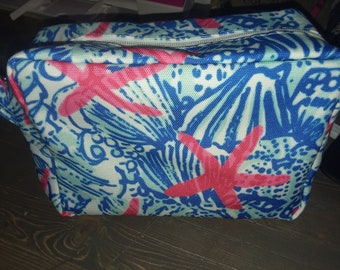 Makeup bag cosmetic bag inspired Lily p makeup bag