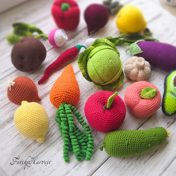 Montessori baby toy Play kitchen Amigurumi food Knit toy 1 year old gift  Eco toys toddler Play food for kid Crochet fruit vegetables