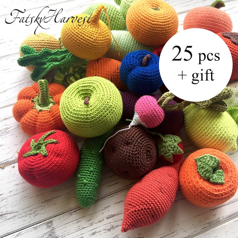 Montessori baby toy Play kitchen Amigurumi food Stuffed toys 1 year old  gift boy Crochet food for toddler Crochet vegetables Waldorf toy