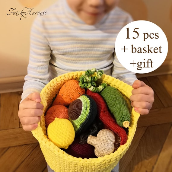 Crochet Food / Play Food / Crochet Fruit and Vegetables Set / 1 year old