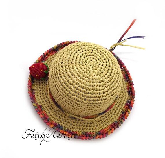 7880ecfc865 Crochet hat Raffia floppy beach hat Bowler panama vacation hat