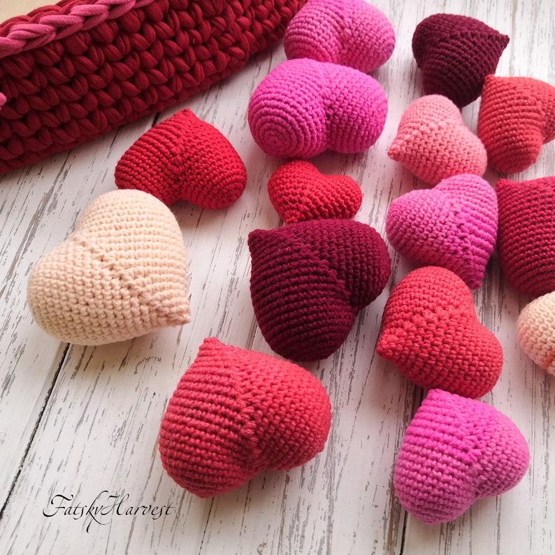 Crochet Hearts Crochet Wedding Favors Red Heart Set Stuffed Etsy