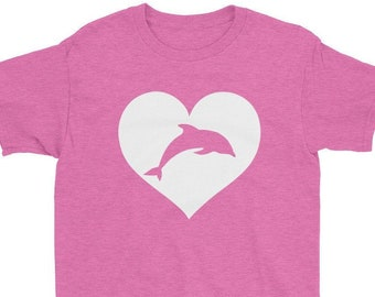 7f7e3e24 Dolphin lover T Shirt gift for Kids girls   Cute dolphin love childrens  clothing   Youth Love heart daughter birthday idea   7 - 12 years