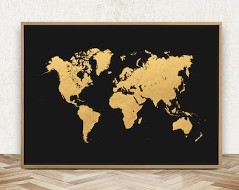 Black Gold World Map Etsy - Black and gold world map