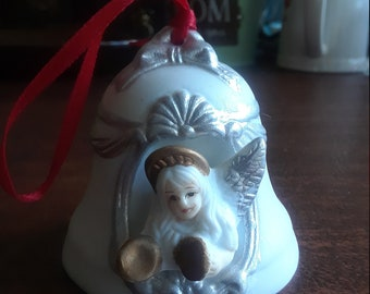 Vintage Small Angel Holiday Bell / Tree Ornament