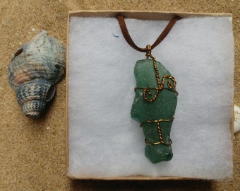 Sea Glass Copper Wire Necklace