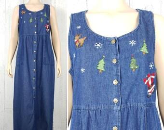5f00c73aab Vintage 90s Christmas Denim Dress Women s Large Button Down Maxi Sleeveless  December Baking Holiday Wear Jeans Sundress Grunge Boho Bohemian