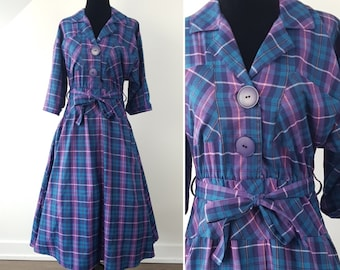 Vintage 50s Plaid Cotton Shirtwaist Dress / Small / Purple & Teal Checks w/ Big Buttons / 1950s Fall Belted Shirt Dress / Dark Turquoise