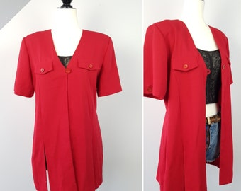 eb4d1f73dc87d4 Vintage Nineties Long Red Blazer   Medium   Power Jacket Ties Up Back Tunic    Early 90s Office Wear   Grunge