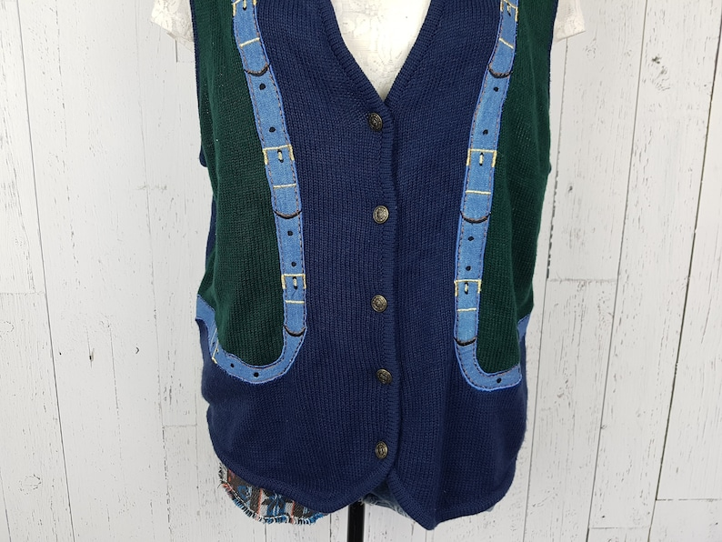 Vintage 80s Sweater Vest Women/'s Large Belt Pattern Embroidery Metal Button Up Sleeveless Top Knit Wild Crazy Statement New Wave Fashion
