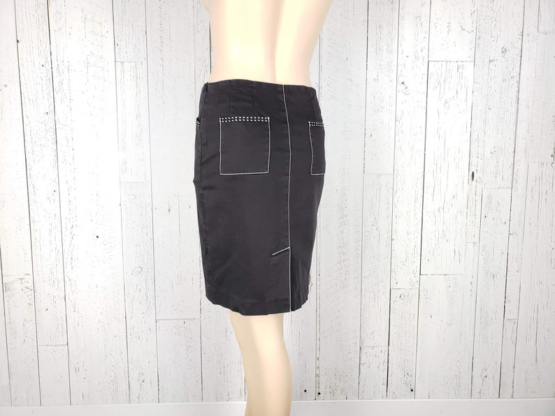Vintage 90s Black Straight Pencil Denim Skirt 30 Waist Medium 4 Pockets White Seam Details Back Slit High Waist Minimal Secretary Grunge