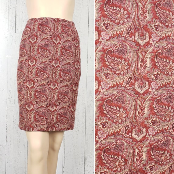 90s Style Mid-Calf Skirt w Back Slit Aztec Southwestern Metallic Esoteric Tribal Vintage Briggs Petite Straight Skirt Paisley Print