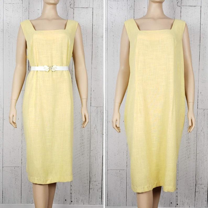 Vintage Late 90s Light Yellow Plus Size Summer Dress Women\'s 1X 2X  Sleeveless Straight Skirt Square Neckline Boho Summer Bohemian Sundress