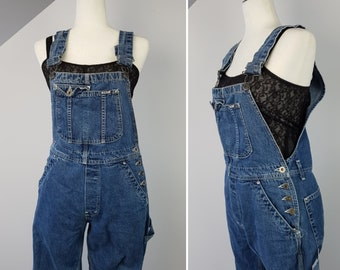Vintage 80s Blue Jeans Bib Overalls / Medium / Flared Bell Bottom / Big Baggy Suspenders Jumpsuit / Ikeda / Grunge Hipster Jean Jumper