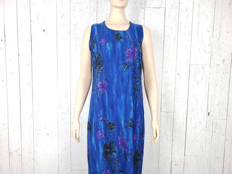 Vintage 90s Maxi Tropical Floral Dress Women/'s Large Sleeveless Purple Flowers on Blue Lightweight Boho Festival Summer Bohemian Sundress