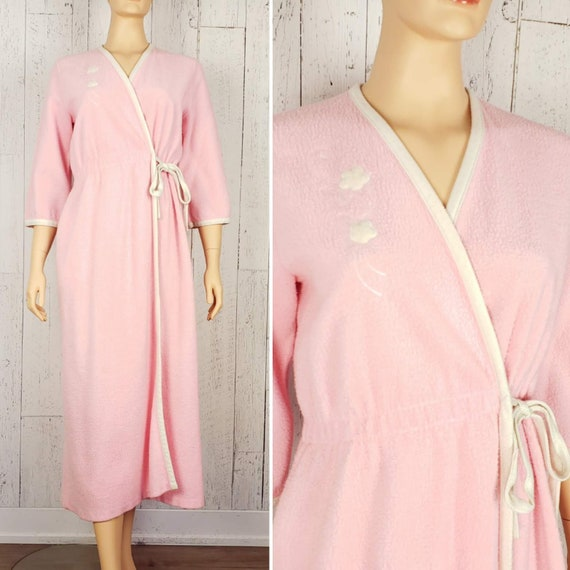 Vintage 50s Pink Side Tie Bathrobe Women's Medium