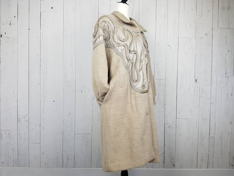 Vintage 80s Felted Wool Long Coat w Supple Leather Abstract Native Inspired Pattern Women/'s Large Oversize Pockets New Wave Winter Jacket