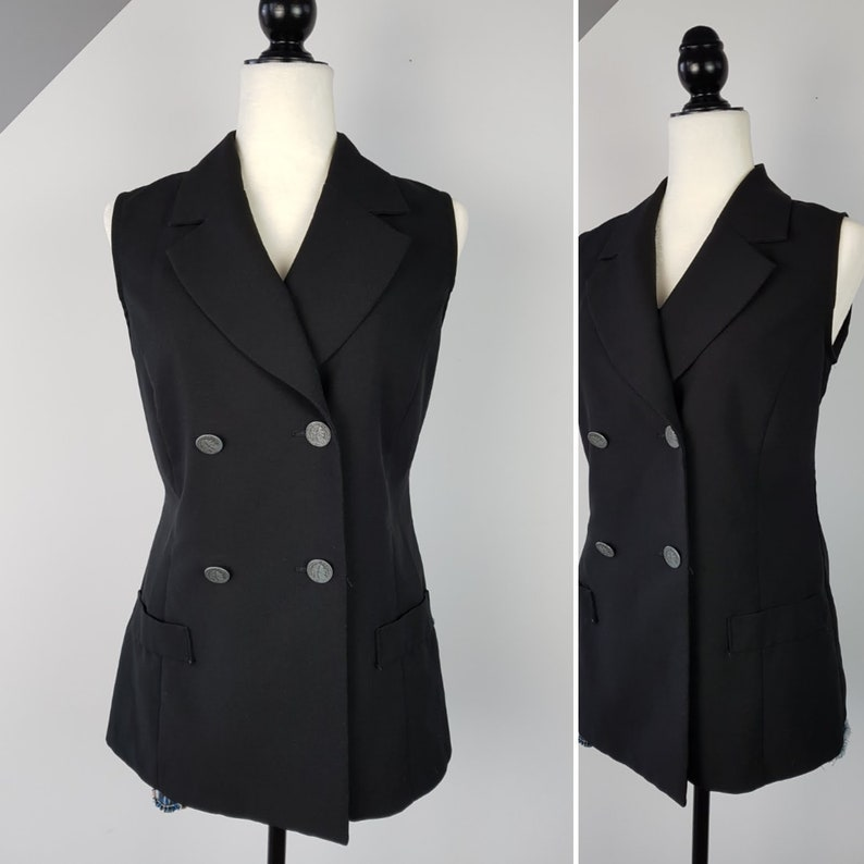 7426000d32f04d Vintage Nineties Black Sleeveless Blazer   Small   Double