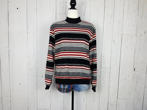 Vintage 90s Black White Striped Mock Turtleneck Sweater Etsy
