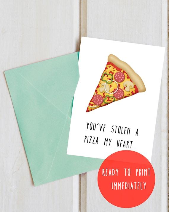 Valentines Charm Card stolen pizza my heart Humour Boyfriend Girlfriend Husband