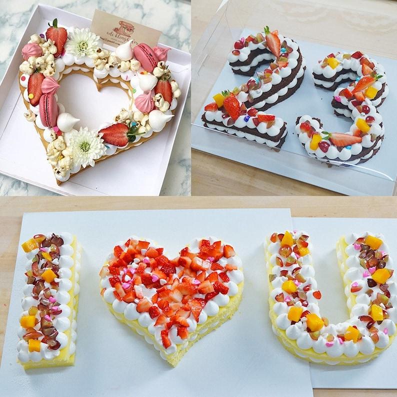 6 8 10 12 Plastic Alphabet Cake Mold Cake Decorating Tools Birthday Cake Design Love Heart Cake Mould Baking Accessories